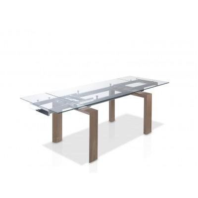 Valgomojo stalas su grūdinto stiklo stalviršiu, poliruotais kraštais