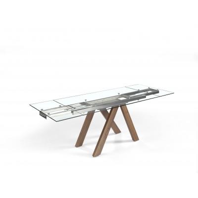 Stačiakampis valgomojo stalas su permatomu grūdinto stiklo stalviršiu