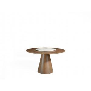 Apskritas valgomojo stalas su fiksuotu stalviršiu ir sukamąja centrine stalviršio dalimi iš porceliano