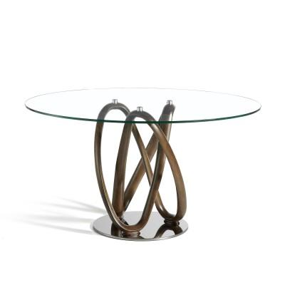 Valgomojo stalas su apskritu grūdinto stiklo stalviršiu
