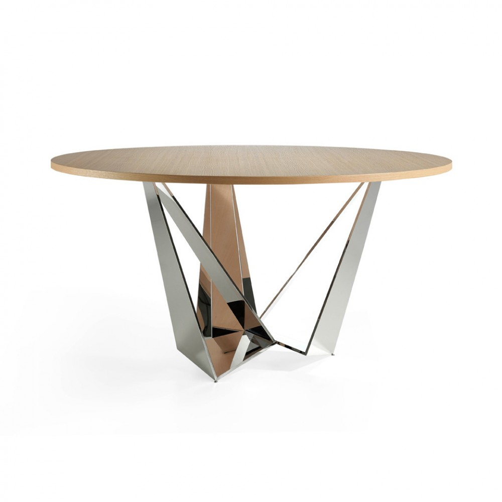 Valgomojo stalas su apskritu fiksuotu grūdinto stiklo stalviršiu ir poliruotais kraštais