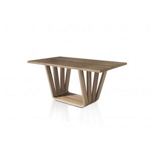 Stačiakampis valgomojo stalas su fiksuotu balto porceliano ir juodo stiklo stalviršiu