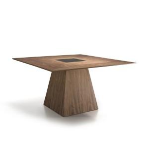 Kvadratinis valgomojo stalas iš MDF ir riešutmedžio faneros