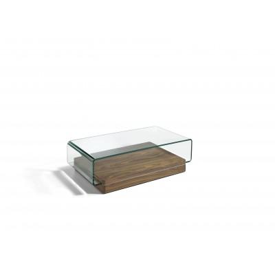 Kavos staliukas iš lenkto grūdinto stiklo, MDF su riešutmedžio fanera