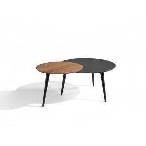 Apskritas kavos staliukas, riešutmedžio fanera, lakuotas MDF