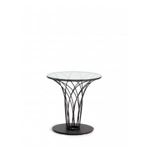 Apskritas šoninis staliukas su grūdinto stiklo stalviršiu