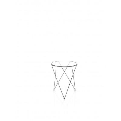 Šoninis staliukas su chromuoto plieno rėmu