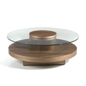 Apskritas kavos staliukas iš MDF su riešutmedžio fanera