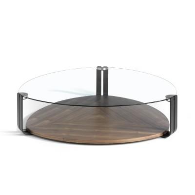Kavos staliukas su uosio medienos pagrindu ir riešutmedžio fanera