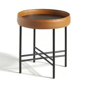 Apskritas kavos staliukas su stalviršiu iš MDF ir riešutmedžio faneros