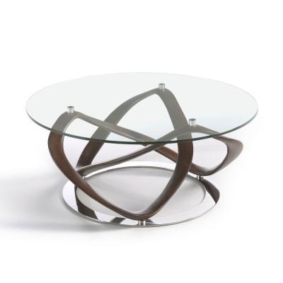 Kavos staliukas su apskritu grūdinto stiklo stalviršiu