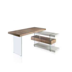 Rašomasis stalas su dviem lentynomis ir dviem stalčiais su švelnaus uždarymo sistema