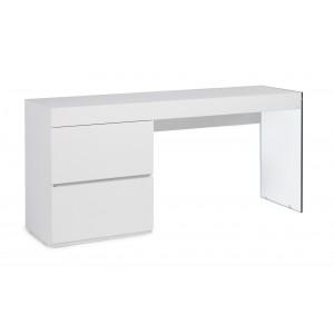 Rašomasis stalas iš lakuotos MDF, blizgios baltos spalvos