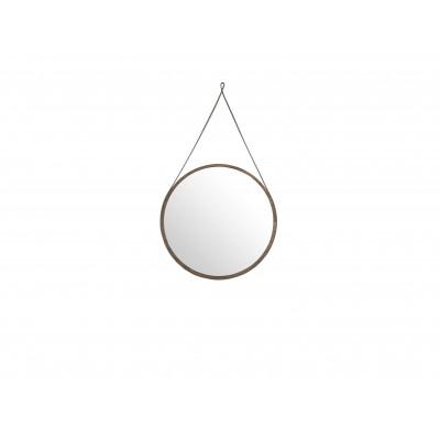 Apskritos formos veidrodis su rėmu iš MDF ir riešutmedžio faneros