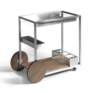 Mini baro vežimėlis iš poliruoto nerūdijančiojo plieno