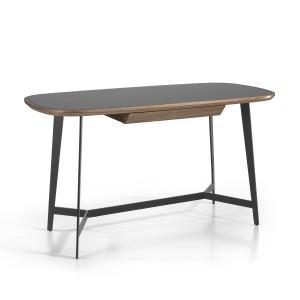 Rašomasis stalas su medienos ir riešutmedžio faneros stalviršiu