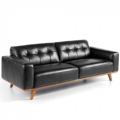 Trivietė sofa, aptraukta galvijų oda