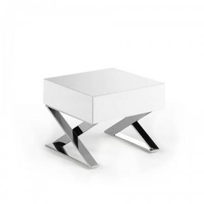 Naktinis staliukas su stalčiais iš lakuotos MDF, blizgios baltos spalvos