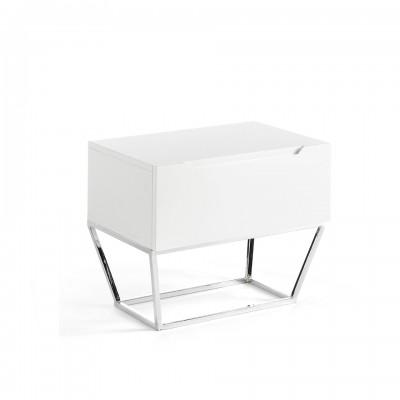 Naktinis staliukas iš lakuotos MDF, blizgios baltos spalvos