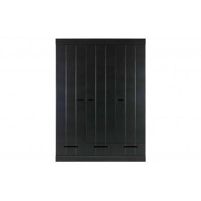 Spinta Connect su 3 durelėmis ir stalčiais, juostelių raštas (juoda)