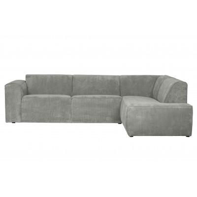 Kampinė sofa Luna, dešininė, kordinis velvetas (žalsvai pilka)