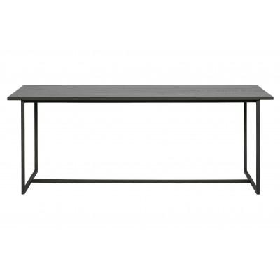 Medinis valgomojo stalas James su U formos metalinėmis kojomis, 200x90 (juoda)