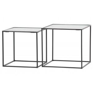 2 dalių kavos staliukas Miles, metalas, stiklas (juoda)