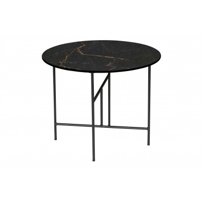 Kavos staliukas Vida su marmuro imitacija, 48x60 cm skersm. (juoda)