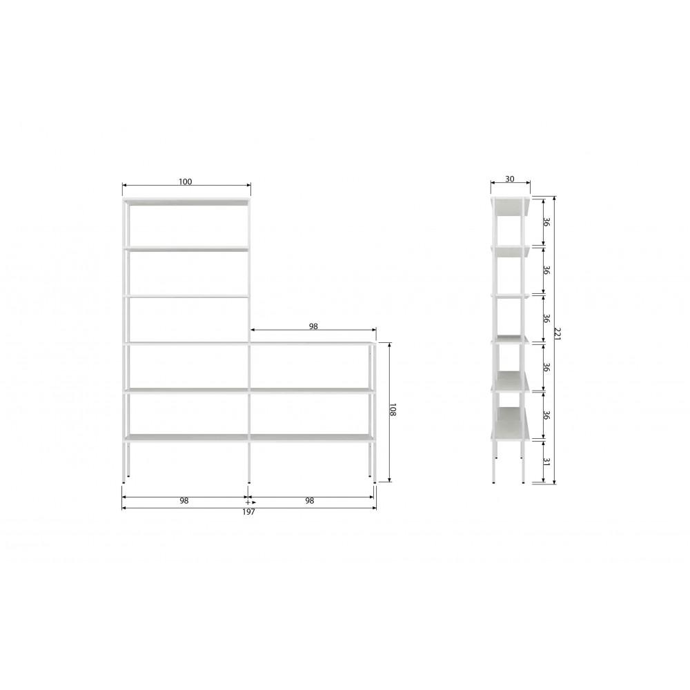 Vertikalus aukštas ir žemas stelažas baltai dažytas metalas (2 dalių komplektas)