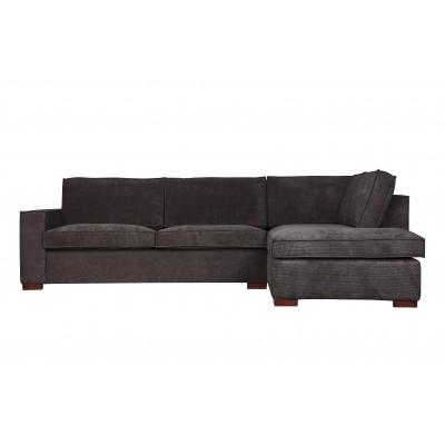 Kampinė sofa Thomas, dešininė, kordinis velvetas (tamsiai pilka)