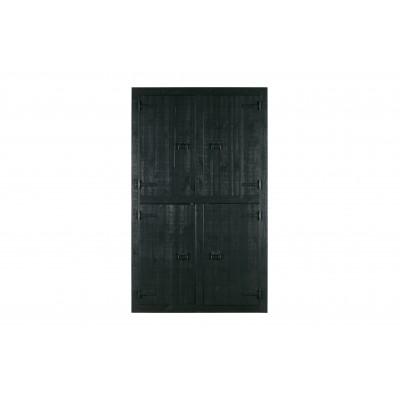 Drabužių spinta Bunk, 4 durų, pušis (matinės juoda)