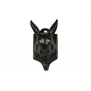 Viršutinių drabužių kabliukas-triušis Nona, porcelianas (juoda)