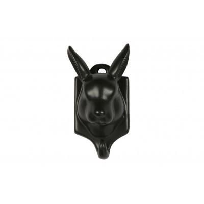 Viršutinių drabužių kabliukas-triušis Nona, porcelianas (juoda), 3 vnt.