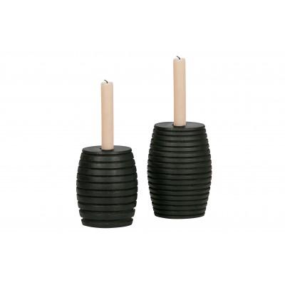 Medinė žvakidė Zuri, juoda (2 dalių komplektas)
