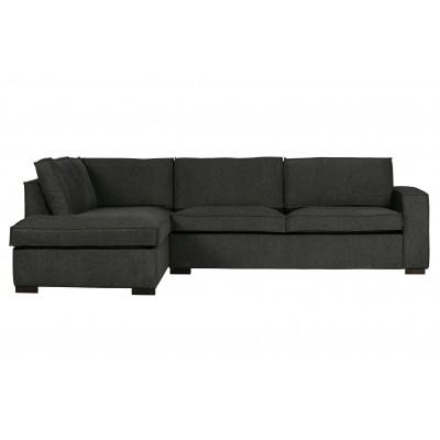 Kampinė sofa Thomas, kairinė, kombinuotos medžiagos (tamsiai pilka)