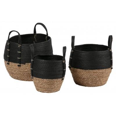 3 krepšiai Amara (natūralios spalvos / juoda)