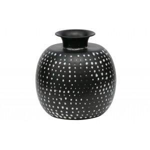 Metalinė vaza Emori, 29x27 cm skersm. (juoda / balta)