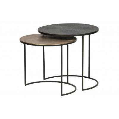 Šoninis staliukas Fara, metalas (sendinto žalvario / juoda) (2 dalių komplektas)