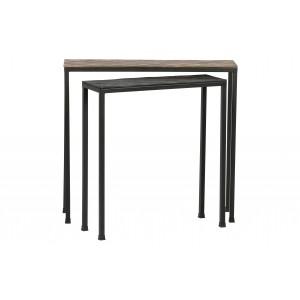 Konsolinis staliukas Lane, metalas (sendinto žalvario / juodos spalvos) (2 dalių komplektas)