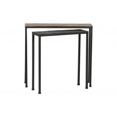 Konsolinis staliukas Lane, metalas (sendinto žalvario / juoda) (2 dalių komplektas)