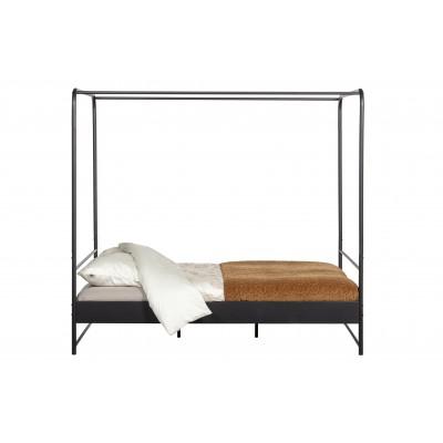 Lova su baldakimo rėmu, 160x200 cm, metalas (juoda)