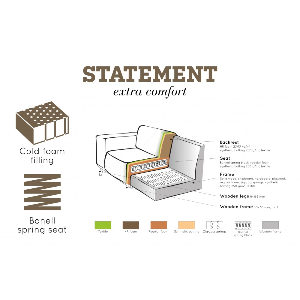Kampinė sofa Statement, kairinė, velvetas (šilta rusvai pilka)