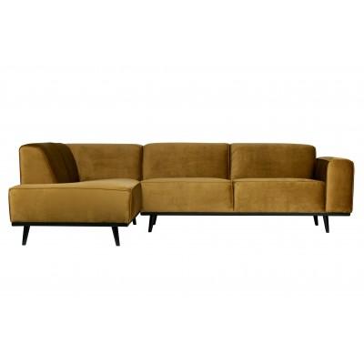 Kampinė sofa Statement, kairinė, velvetas (medaus geltona)