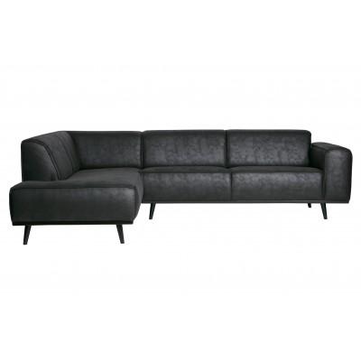 Kampinė sofa Statement, kairinė, suedine medžiaga, primenanti verstą odą (juoda)