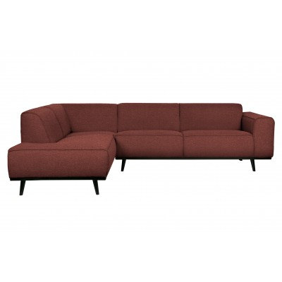 Kampinė sofa Statement, kairinė, bouclé audinys (kaštoninė)