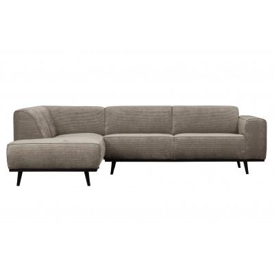 Kampinė sofa Statement, kairinė, plokščiasis velvetas (rusvai pilkšva)