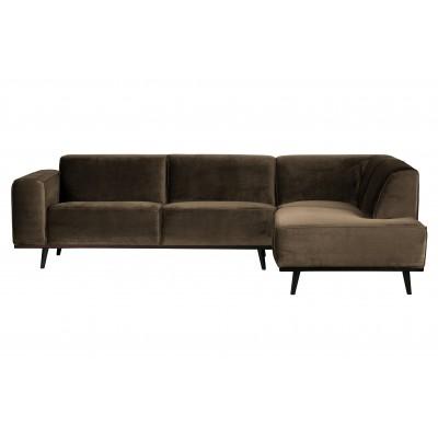 Kampinė sofa Statement, dešininė, velvetas (šilta rusvai pilka)
