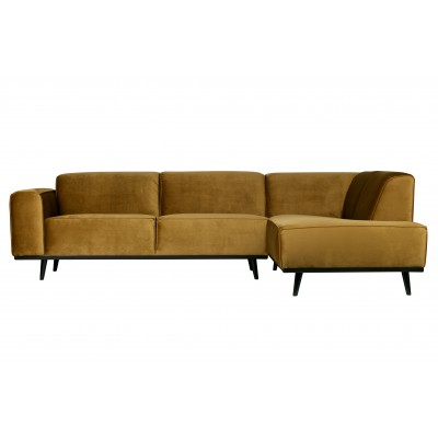 Kampinė sofa Statement, dešininė, velvetas (medaus geltona)