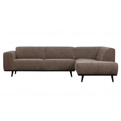 Kampinė sofa Statement, dešininė, plokščiasis velvetas (pilkšva)