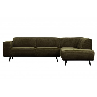 Kampinė sofa Statement, dešininė, plokščiasis velvetas (šiltai žalia)